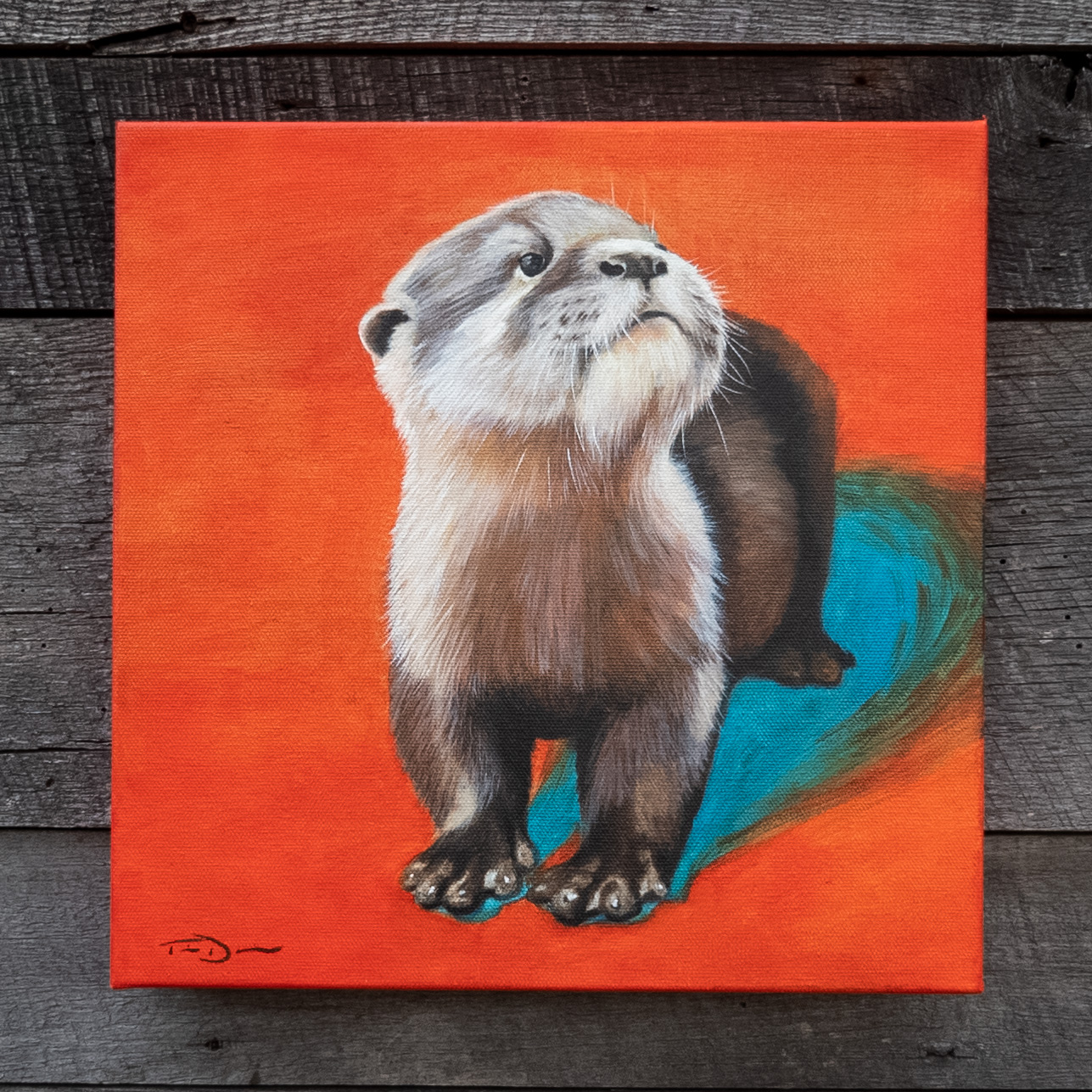 The Hopeful Otter - Original oil painting by wildlife artist Timothy Davison of the Davison Art Company featuring an Asian small-clawed otter. As the most hopeful color, he is looking up while surrounded by orange and leaving his blue shadow behind. © COPYRIGHT TIMOTHY DAVISON