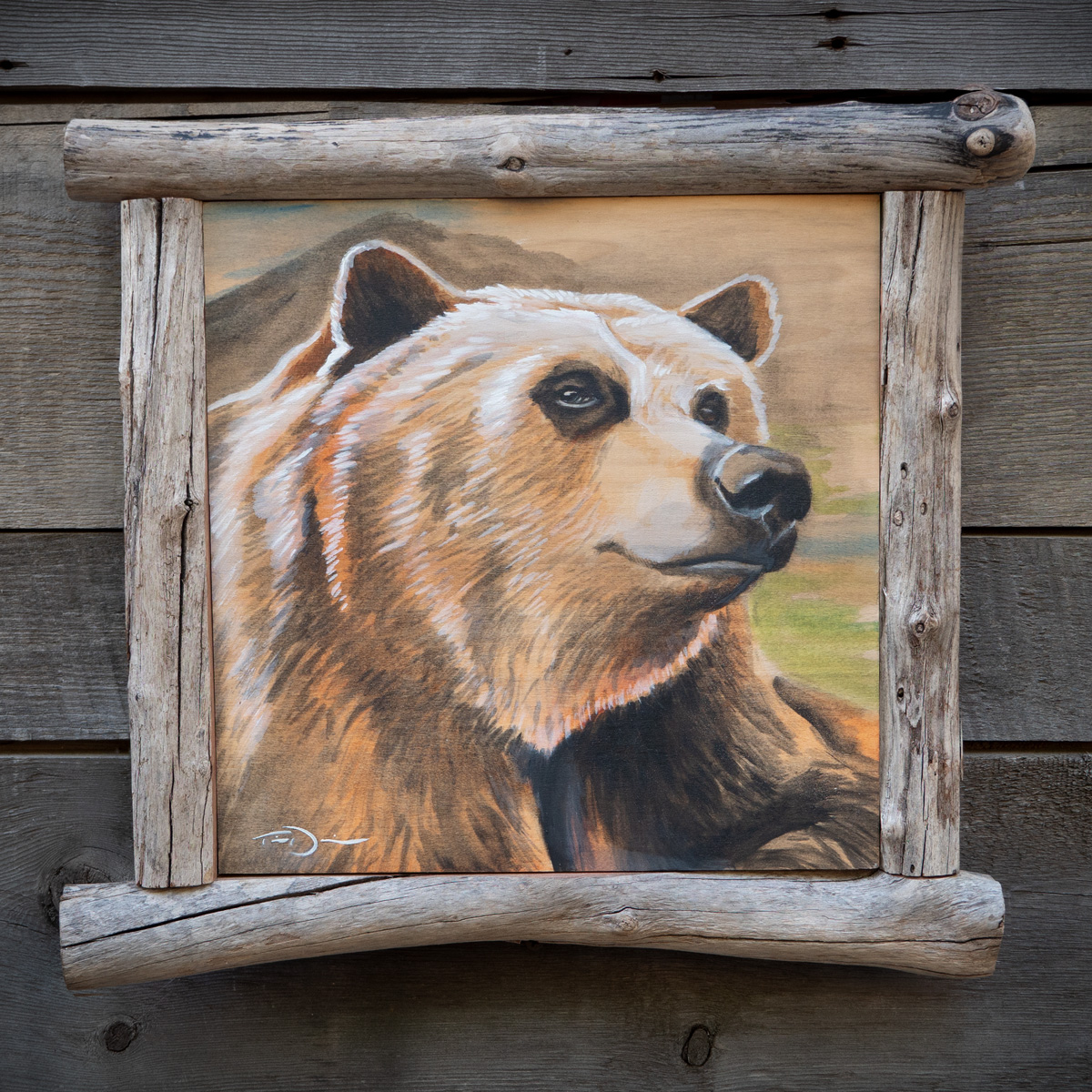 Handsome Bear - a grizzly bear original oil painting by Timothy Davison of the Davison Art Company