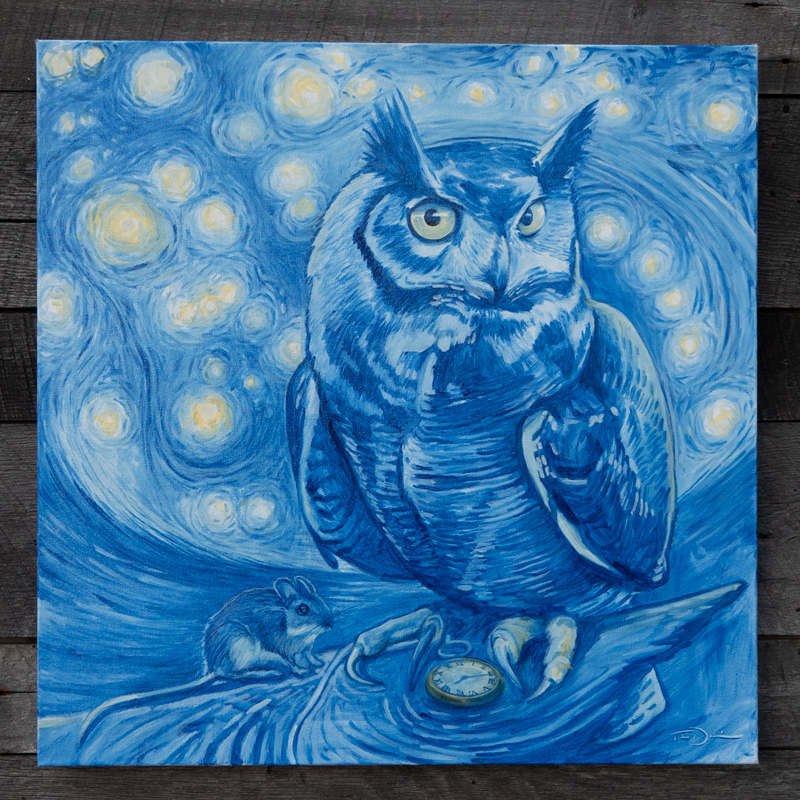 """The Owl and Orion - Original oil painting by Timothy Tim Davison of the Davison Art Company featuring a great horned owl looking at the constellation orion with a mouse on his wing 