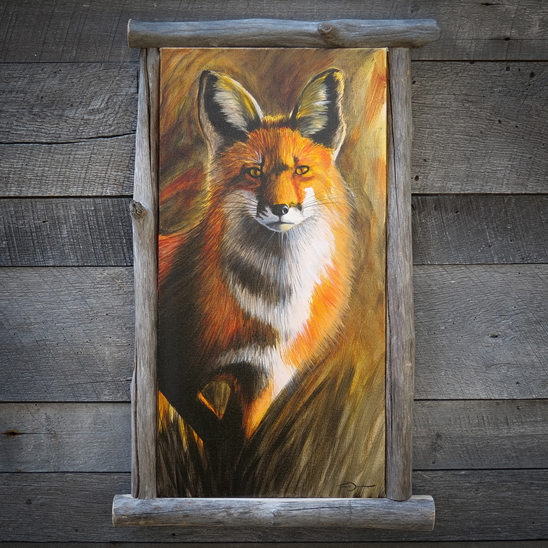 Stepping Fox - Original oil painting by wildlife artist Timothy Davison of the Davison Art Company featuring a red fox stepping out from grass. Custom framed with driftwood frame.