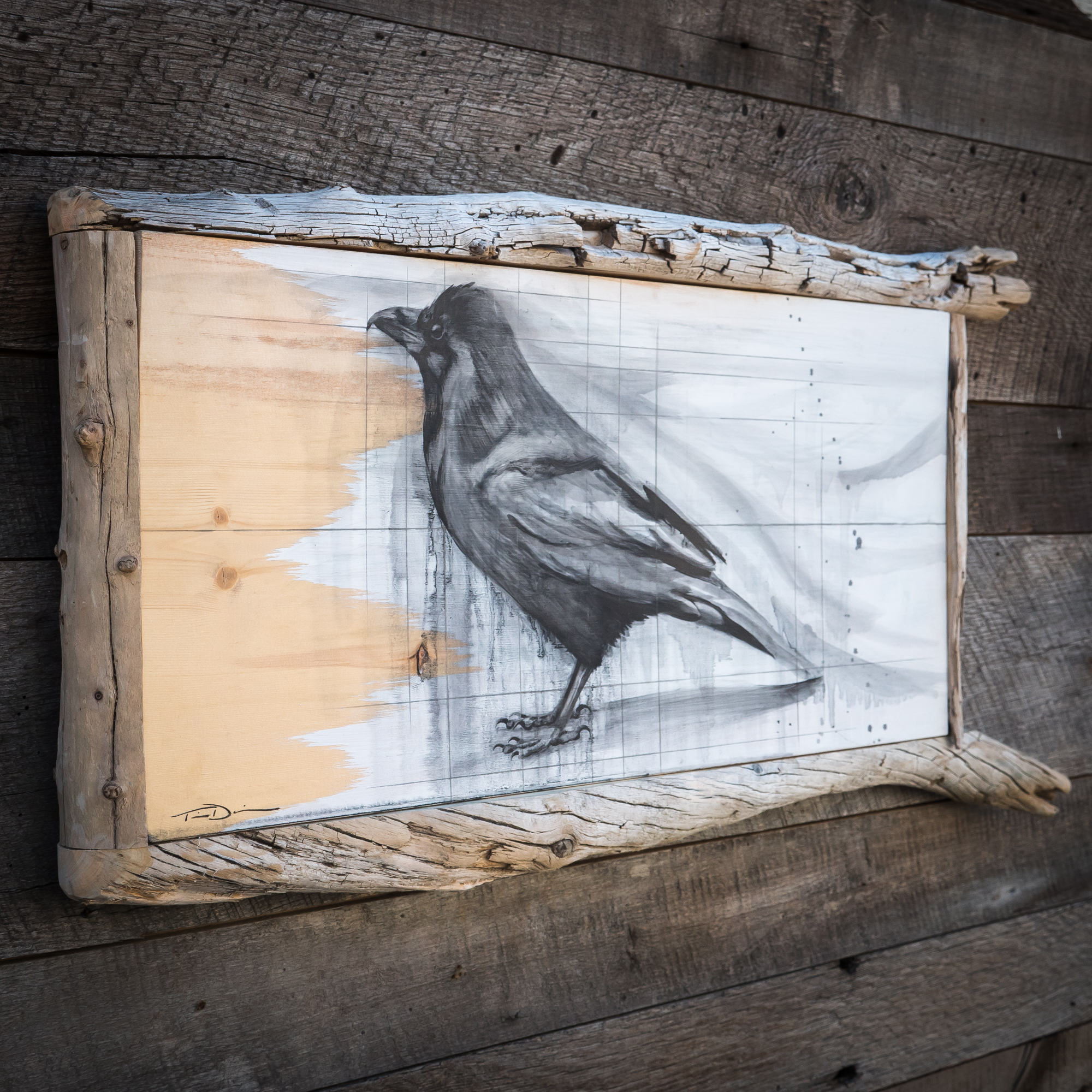 Yellowstone Raven - Original oil painting by wildlife artist Timothy Davison of the Davison Art Company featuring a raven looking up to the sky, with splashes of black paint. The painting appears to come off the surface, revealing the wood grain in the background. Custom framed with a driftwood frame. © COPYRIGHT TIMOTHY DAVISON