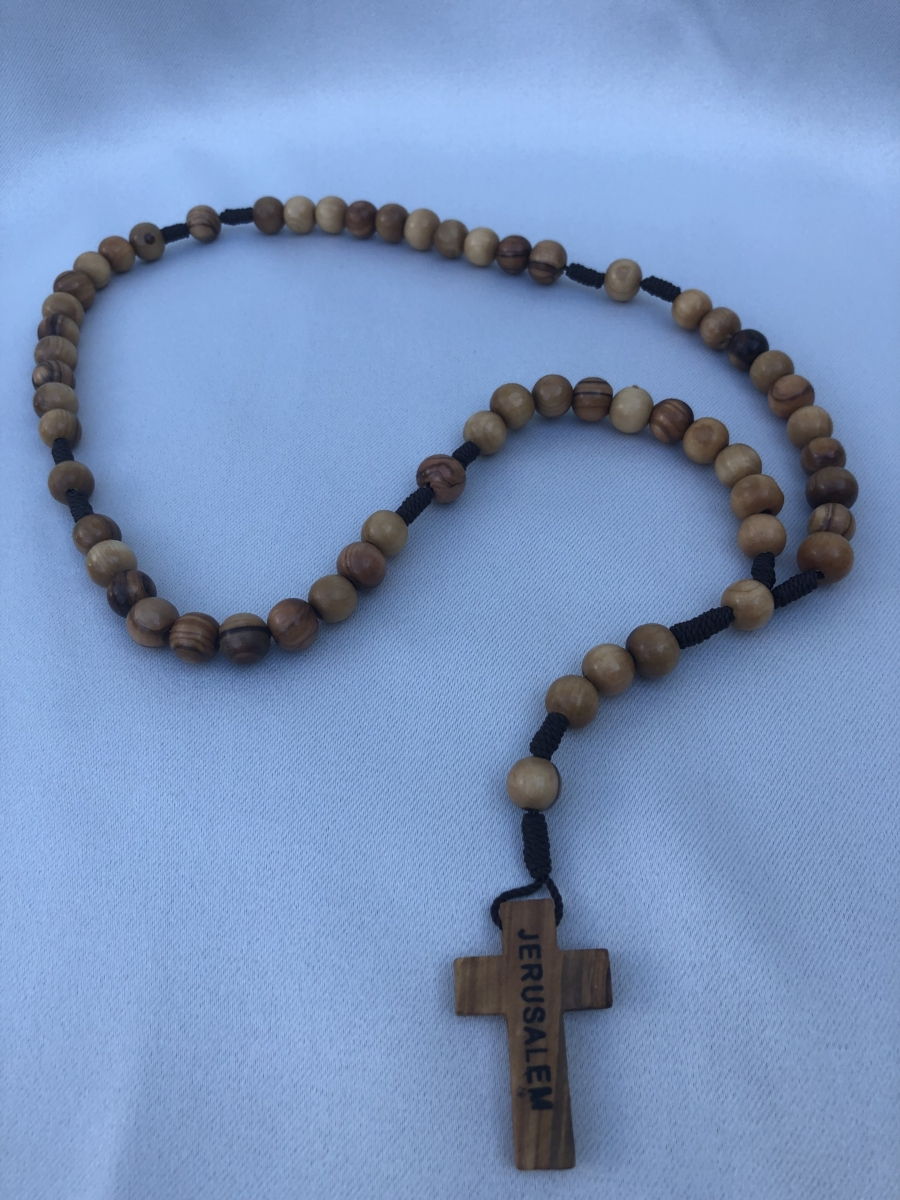 Large Beads Olive Wood Rosary Rope