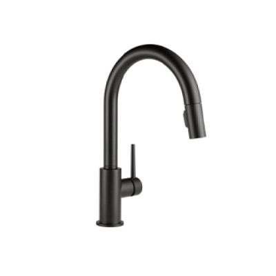 a dark gray faucet