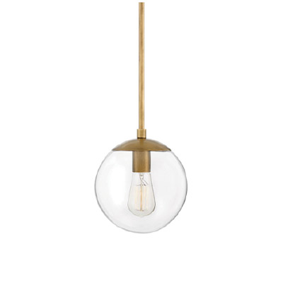 a fishbowl light fixture with gold accents