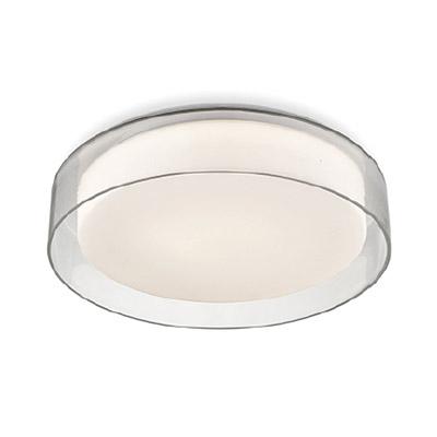 a clear glass round light fixture
