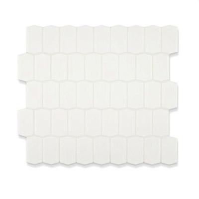 a white hexagonal tile finish