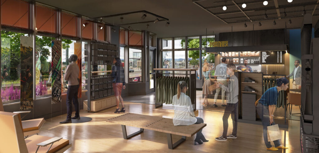 A rendered view of a retail space in Grandview Station