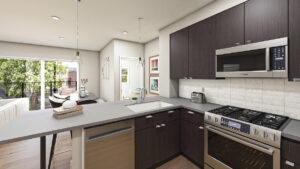 a kitchen in Grandview Station residence