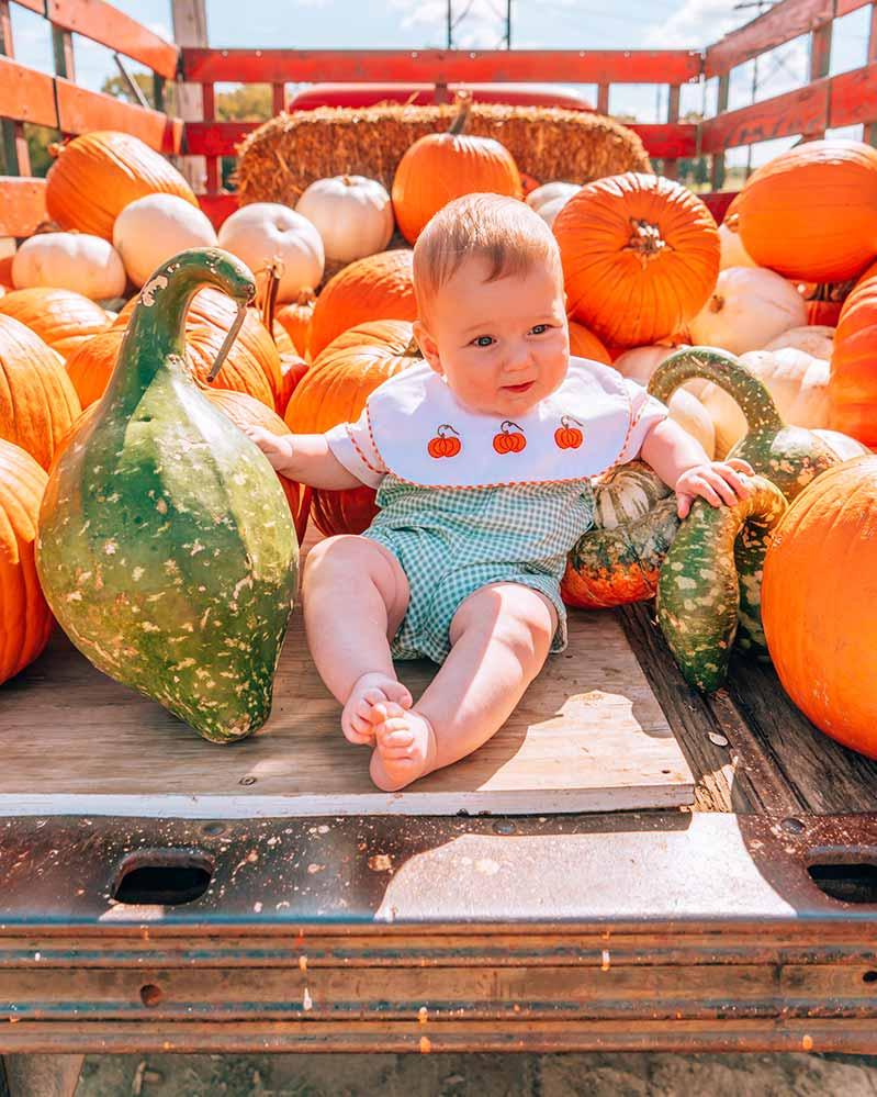 Baby in Pumpkin Truck