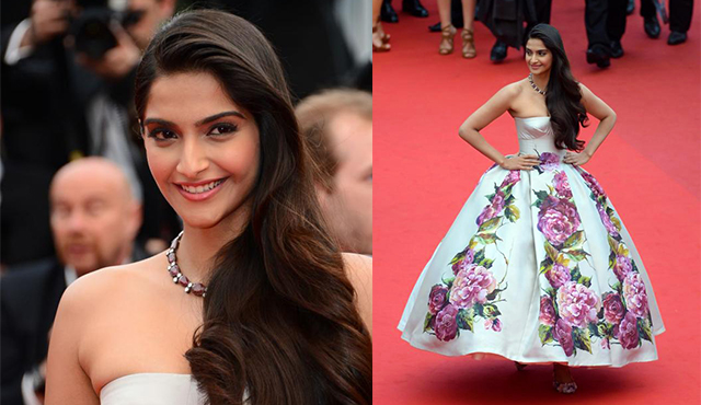 Sonam Kapoor Cannes Dolce Gabbana red carpet bollywood fashion