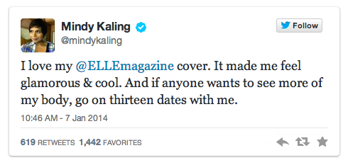 Mindy Kaling Twitter Elle Magazine Cover