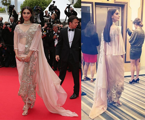 Sonam Kapoor Cannes 2014 red carpet Anamika Khanna
