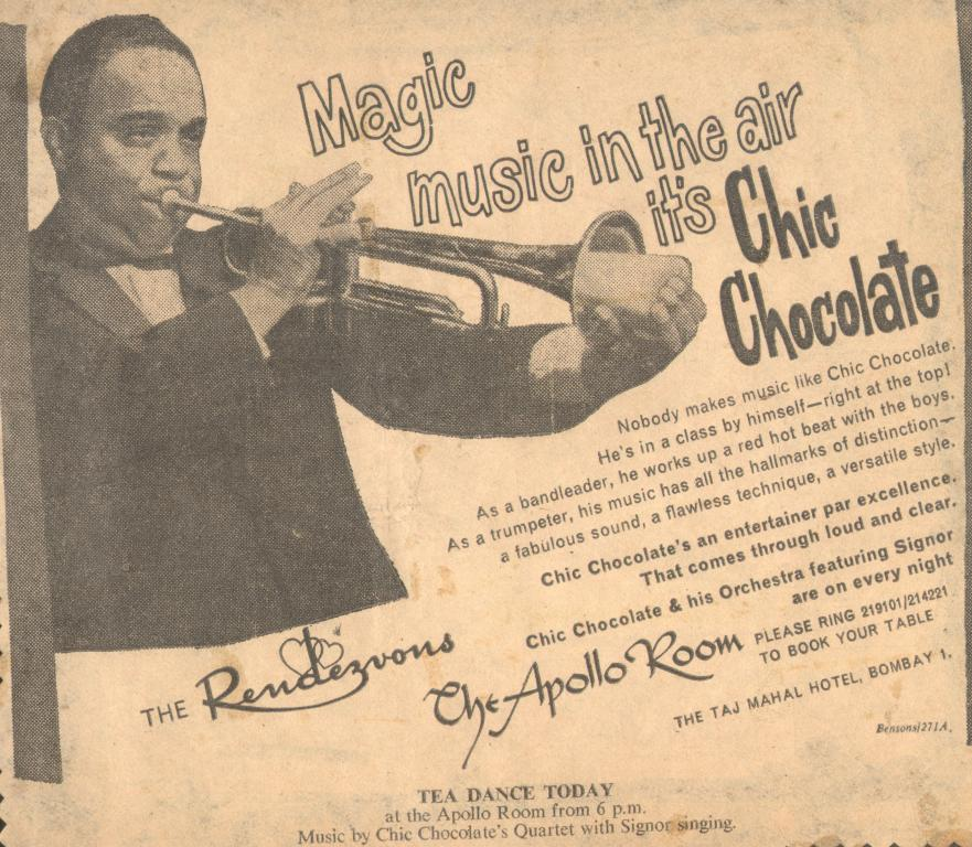 An advertisement for a Chic Chocolate show at the Taj Mahal Hotel