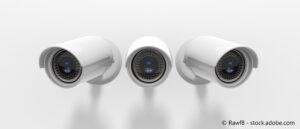 Three bullet-style security CCTV cameras