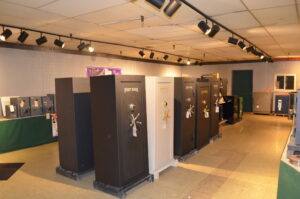 Fort Knox black and white safes in a vault showroom