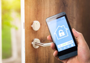 Unlocking a keyless door with a smartphone