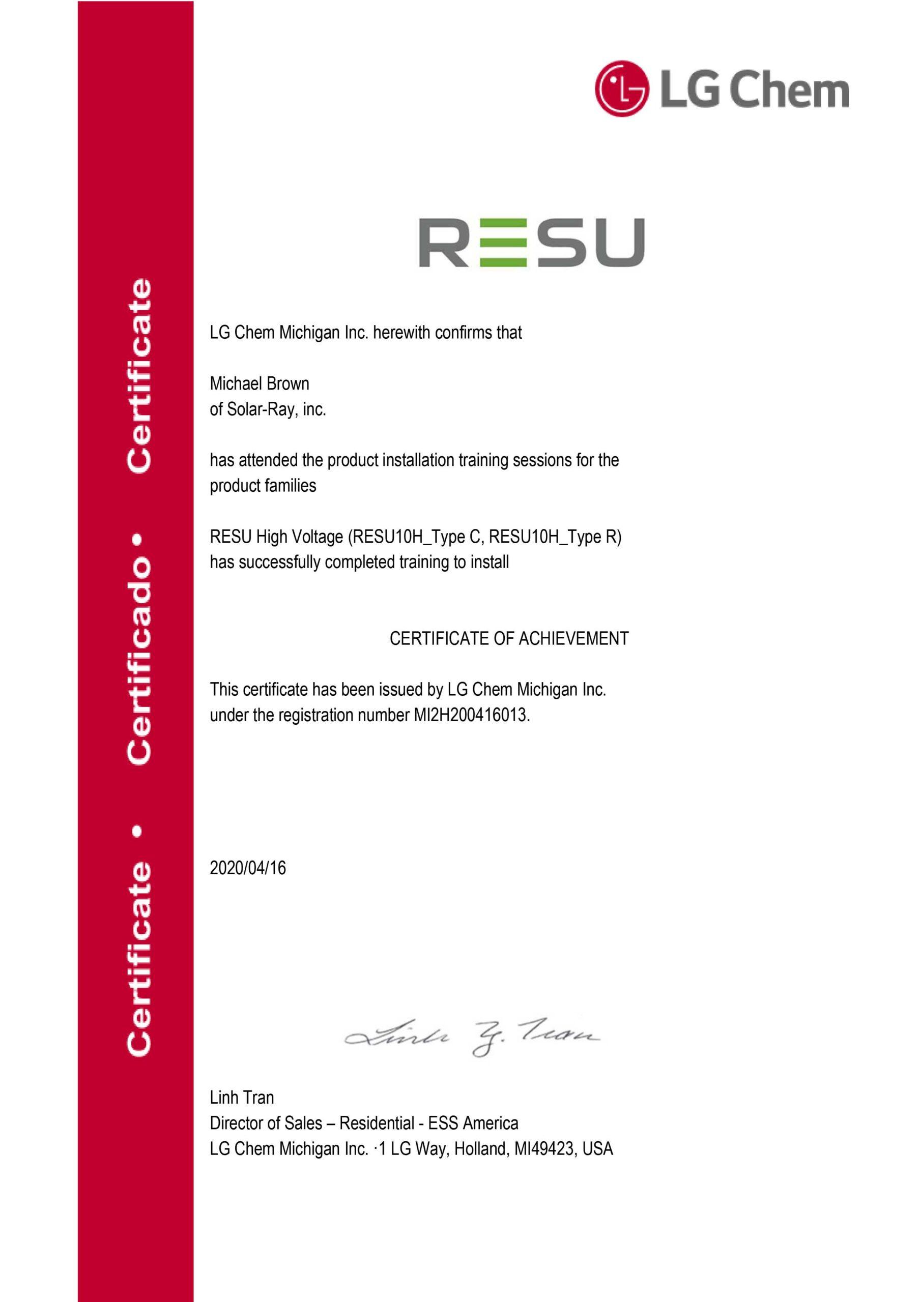[LG Chem] Certified Installer for RESU10H_Solar-Ray, inc.