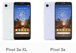 Screenshot of Pixel 3A beside Pixel 3A XL