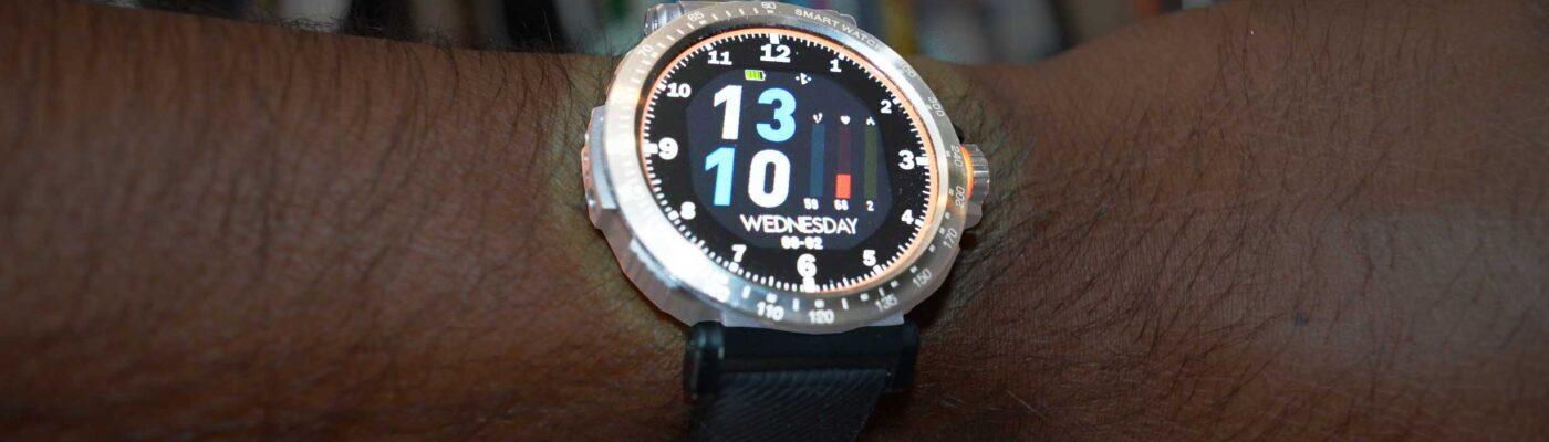 Blitzwolf BW-AT1 Smartwatch glowing on wrist