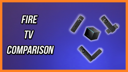 Fire TV Comparison Thumbnail - all new Fire TV Stick Lite, all new Fire TV Stick, Fire TV Stick 4K and Fire TV Cube arranged like smiley face