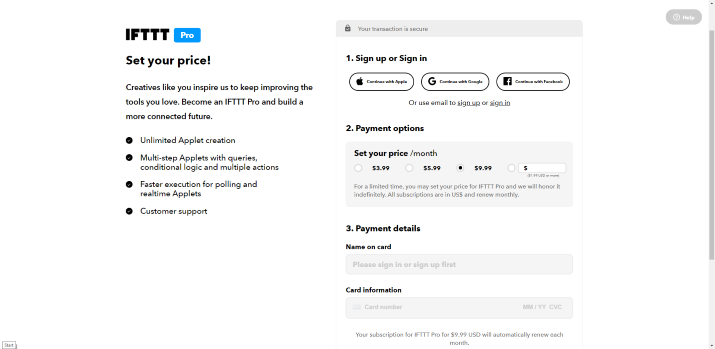 IFTTT Pro Subscription Payment Page