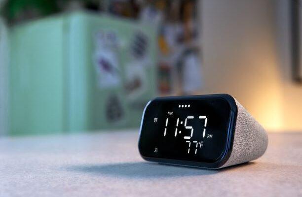 Lenovo Smart Clock Essential sitting on table