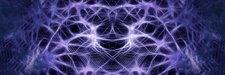 Abstract Art showing electric connection with purple background