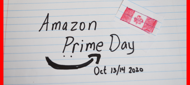 Amazon Logo and Amazon Prime Day written on ruled paper