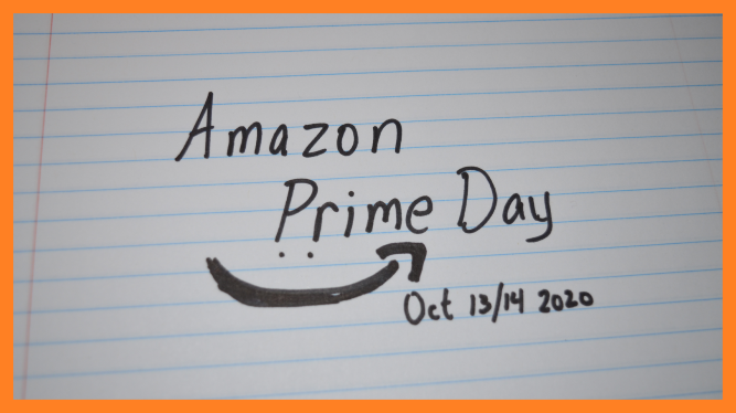 Amazon Prime Day written on ruled paper