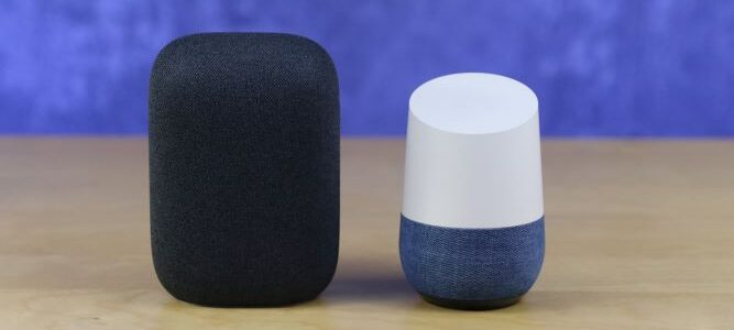 Nest Audio with Google Home sitting on table with purple background