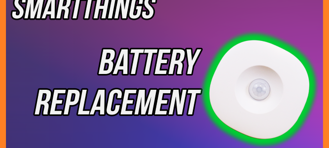 Thumbnail for SmartThings Motion Sensor Battery Replacement. Showing SmartThings Motion Sensor with Green outer glow