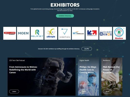 Exhibitors Page on CES 2021