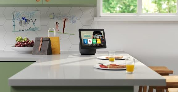 Echo Show 10 Sitting on Kitchen Counter