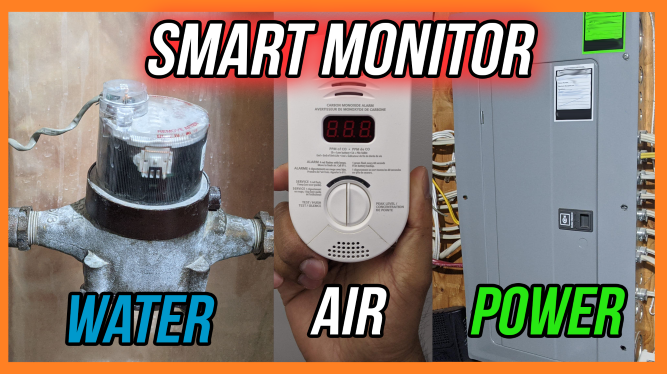Monitoring Water, Air and Power in your Smart Home. Picture of water meter, carbon dioxide meter, and electrical panel