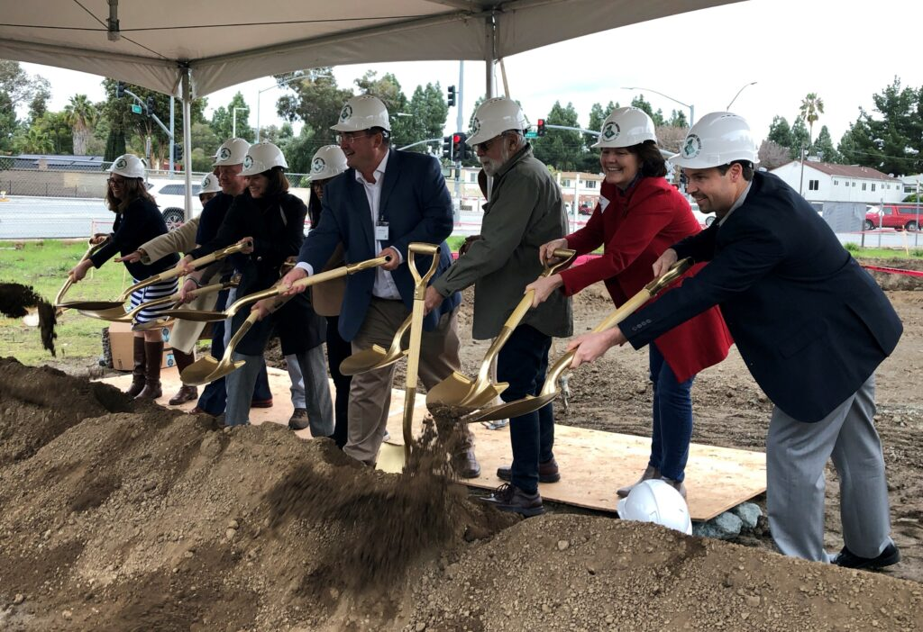 Leigh Avenue groundbreaking - Housing Trust Silicon Valley Acting CEO Julie Mahowald is seen second from right.