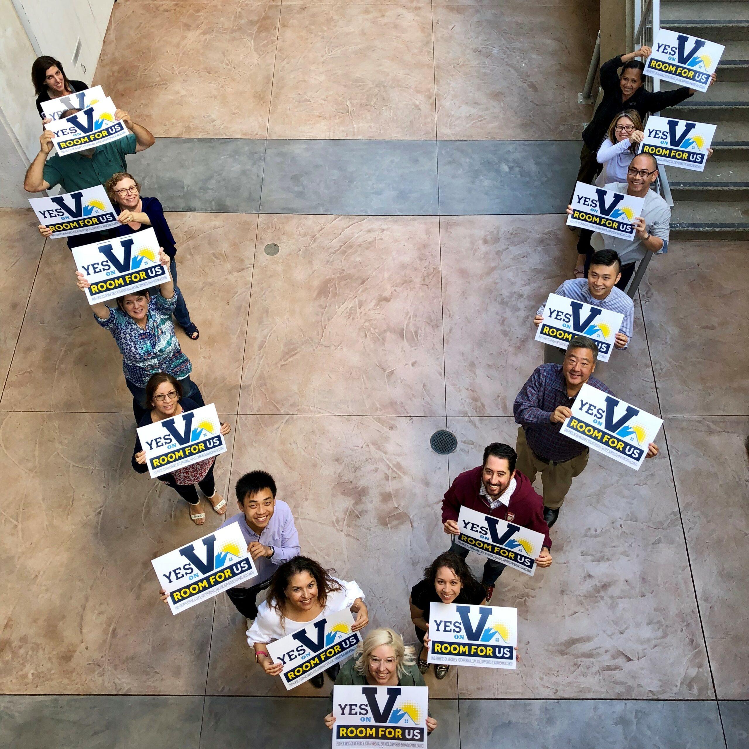 Housing Trust staff showing support for Measure V, the affordable housing bond issue on the ballot in San Jose