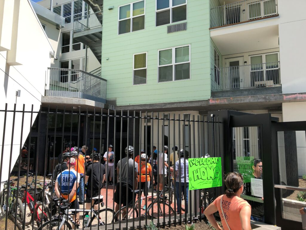 At the Wheelie Home: Affordable Housing Bike Ride on May 11th led by Silicon Valley Bicycle Coalition Executive Director and Housing Trust board member Shiloh Ballard.
