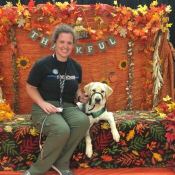 Laura Jones with Pistachio the dog