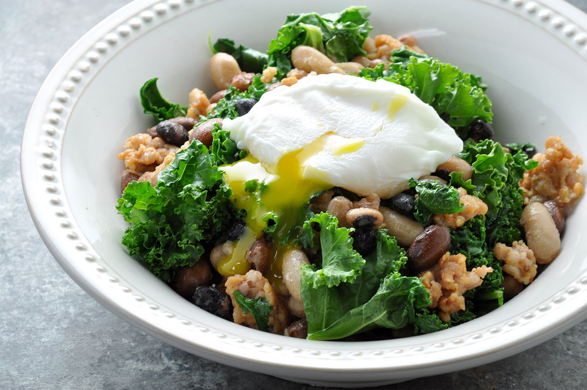 Breakfast Kale Stir Fry with Poached Egg