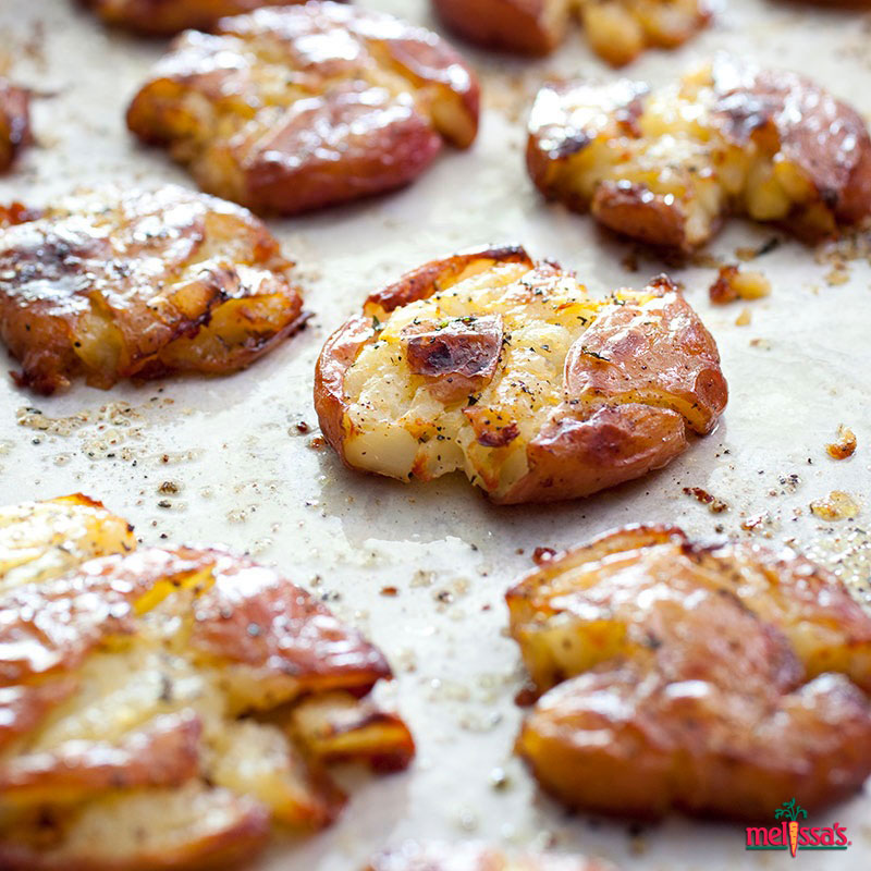 Beer-Steamed Smashed Bacon Cheddar Potatoes