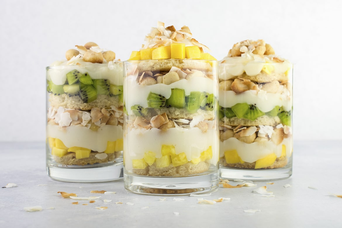 Vegan Tropical Fruit Trifle   A deliciously light and healthy dessert with mango, kiwi, pineapple, and coconut.