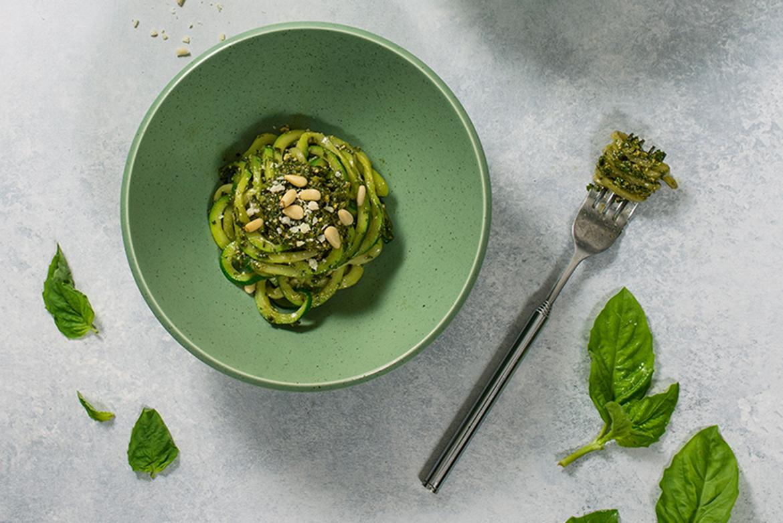 Zucchini Noodles with Basil Arugula Pesto