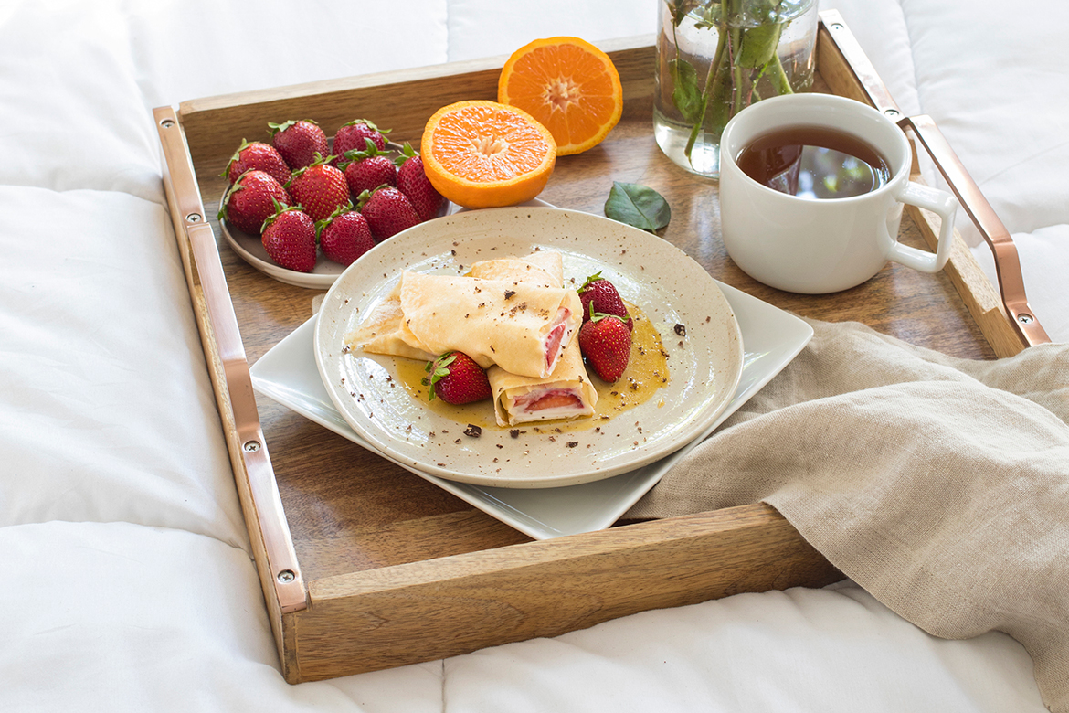 Strawberry Crepes with Pixie Tangerine Caramel