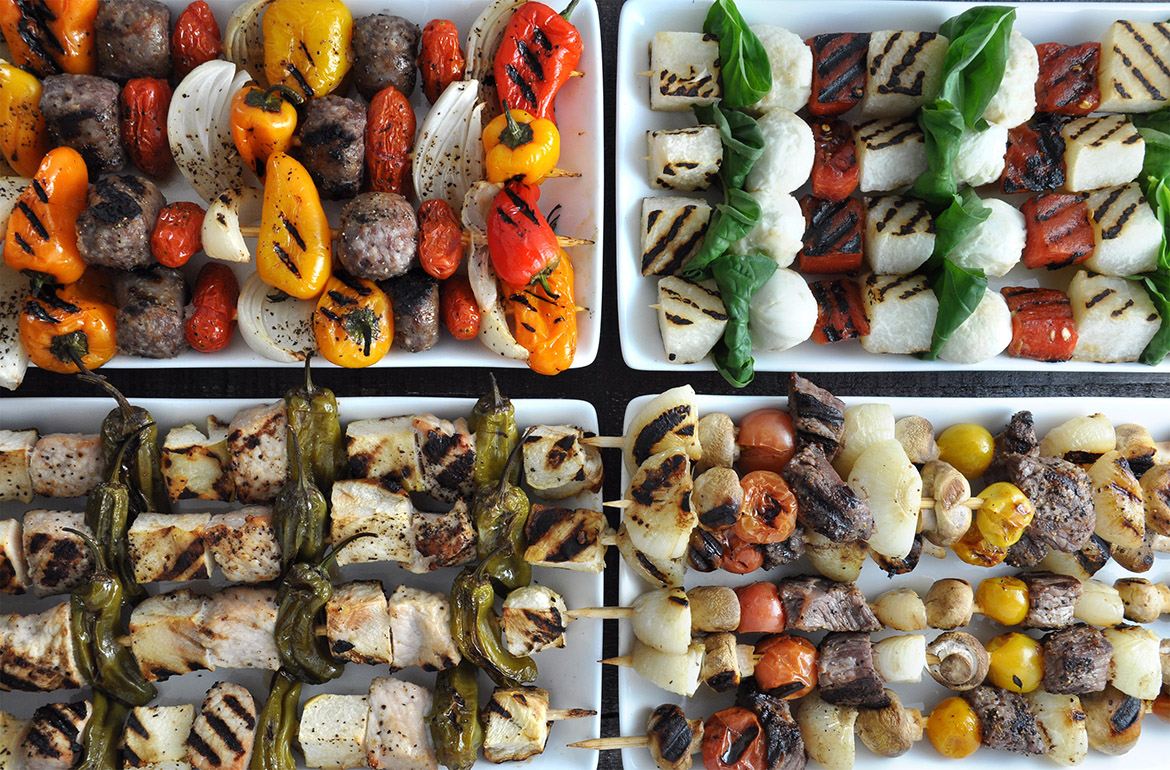 15 Best Vegetables for Grilling l grilled chile peppers jicama tomatoes skewers kabobs