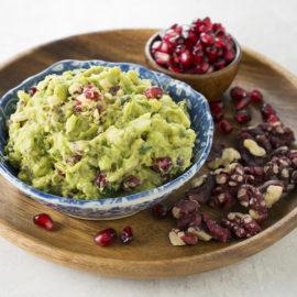 Pomegranate and Walnut Guacamole l pomegranate aril and red walnut guacamole dip
