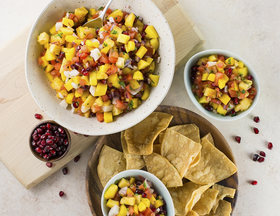 Tropical Fruit Salsa l tropical fruit salsa with mangoes pineapples pomegranates and chips