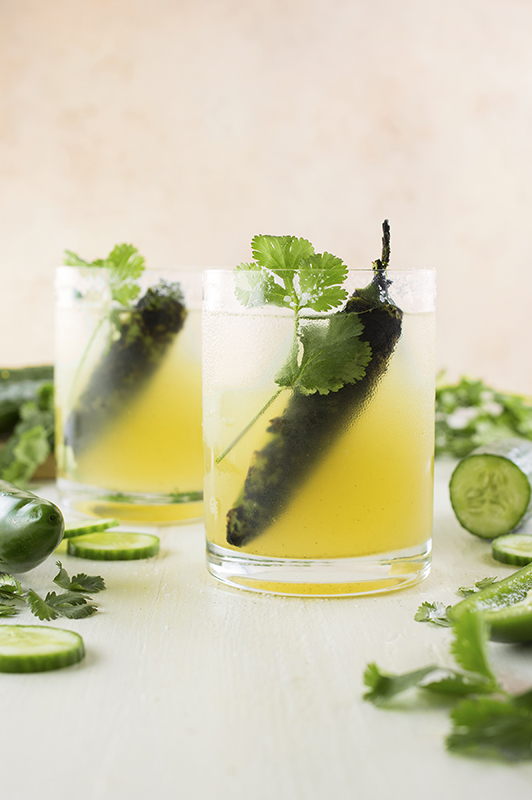Know Your Chile Peppers: The Ultimate Guide l roasted jalapeno and cucumber margarita cocktail