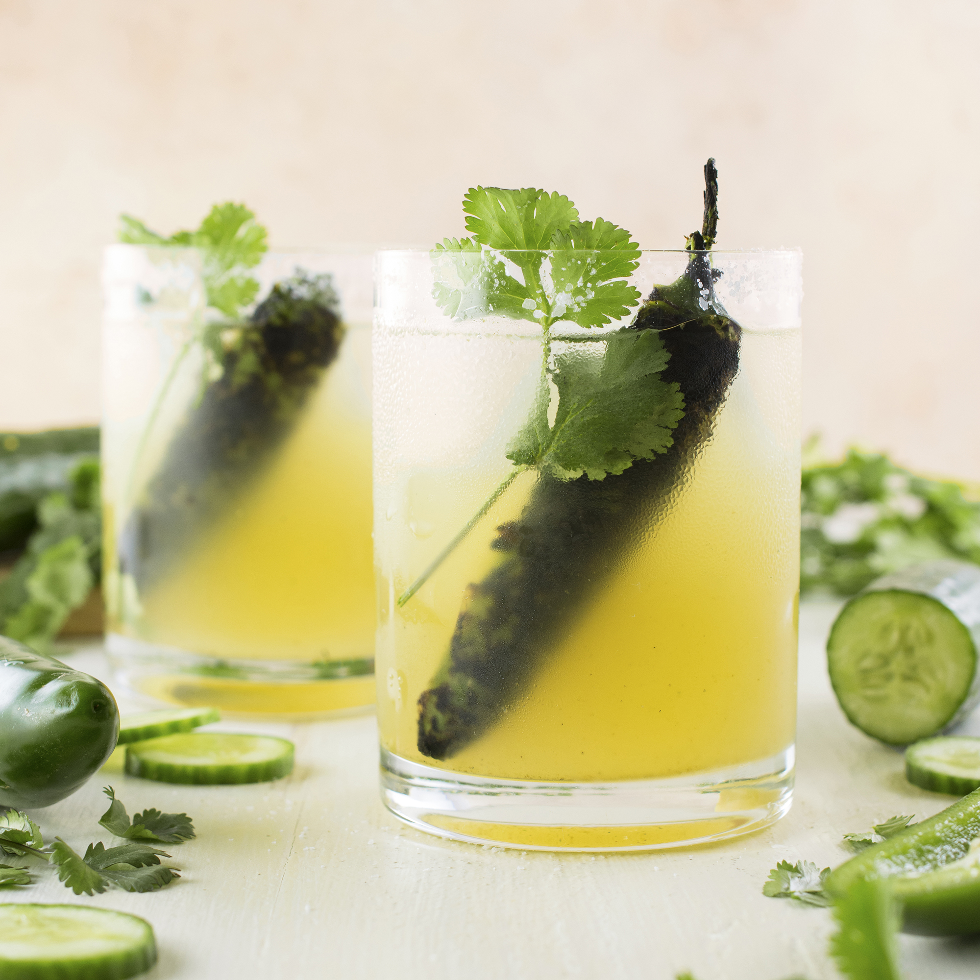Roasted Jalapeno and Cucumber Margarita