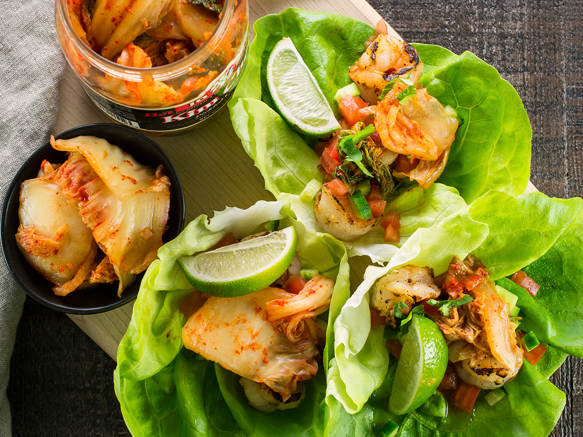 Shrimp and Kim Chee Lettuce Cups   easy asian recipe, gut health recipe, healthy lunch ideas