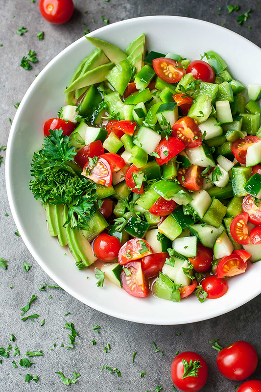 The Best of Whole30 Recipe Roundup l tomato cucumber avocado salad